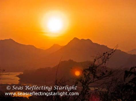 Mountainous Laos Sunset by Seas Reflecting Starlight